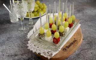 Канапе с сыром и виноградом: рецепт приготовления